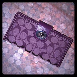 Coach Purple Signature Canvas Envelope Wallet